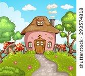 cute little house with garden | Shutterstock .eps vector #293574818