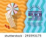 summer beach in flat design ... | Shutterstock .eps vector #293593175