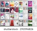 vector set of art flyers... | Shutterstock .eps vector #293596826