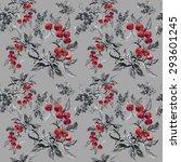 watercolor garden rowan plant... | Shutterstock .eps vector #293601245