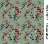 watercolor garden rowan plant...   Shutterstock .eps vector #293601302