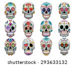 sugar skull set of 12 vector... | Shutterstock .eps vector #293633132