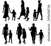 black silhouettes family on... | Shutterstock .eps vector #293638736