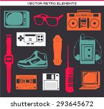 retro 80 vintage elements set... | Shutterstock .eps vector #293645672