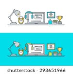 thin line flat design concept... | Shutterstock .eps vector #293651966