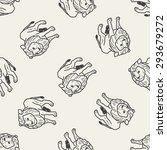 lion doodle seamless pattern... | Shutterstock . vector #293679272