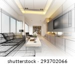 sketch design of living  3dwire ... | Shutterstock . vector #293702066