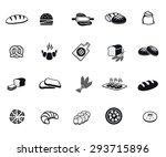 bread set of vector black icon...