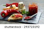 sweet pepper jam on the black... | Shutterstock . vector #293723192
