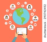 mobile connection social media...   Shutterstock .eps vector #293742452