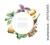 watercolor herbs and spices... | Shutterstock .eps vector #293742455