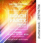 summer beach party vector flyer ... | Shutterstock .eps vector #293746706