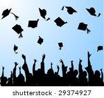 graduation  graduates tossing... | Shutterstock .eps vector #29374927