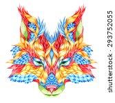 fox head tattoo. psychedelic... | Shutterstock .eps vector #293752055