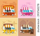cafe car on the street. hotdog  ...   Shutterstock .eps vector #293760278