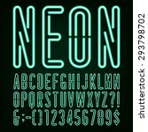 neon green light alphabet font. ... | Shutterstock .eps vector #293798702