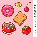 yummy colorful cookies  donuts... | Shutterstock .eps vector #293829956