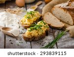 scrambled eggs with herbs on... | Shutterstock . vector #293839115