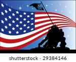 US flag and soldiers - stock vector