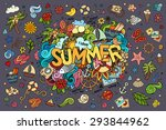 summer hand lettering and... | Shutterstock .eps vector #293844962