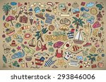 summer beach hand drawn vector... | Shutterstock .eps vector #293846006