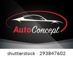 Stock vector auto company logo vector design concept with sports car silhouette red 293847602