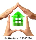 Conceptual home symbol made by hands - stock photo