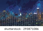 trading graph on the cityscape... | Shutterstock . vector #293871086