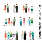 family collection with married  ... | Shutterstock .eps vector #293874245