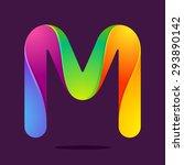 m letter one line colorful logo.... | Shutterstock .eps vector #293890142