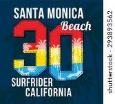 santa monica beach. college... | Shutterstock .eps vector #293893562