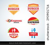 fast food and cafe logotypes... | Shutterstock .eps vector #293901716
