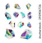 watercolor crystals. geometric... | Shutterstock .eps vector #293906726