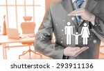 businessman protecting family...   Shutterstock . vector #293911136