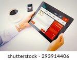 man using tablet pc against... | Shutterstock . vector #293914406