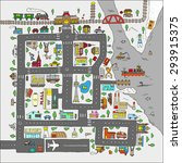 doodle city map. isolated. | Shutterstock .eps vector #293915375