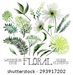 huge watercolor green floral... | Shutterstock .eps vector #293917202