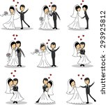 set of wedding pictures  bride... | Shutterstock .eps vector #293925812