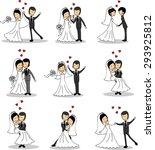 set of wedding pictures  bride... | Shutterstock .eps vector #293925812