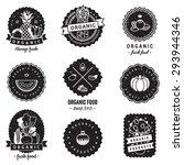 organic food logo badges... | Shutterstock .eps vector #293944346