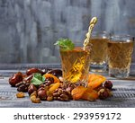 traditional arabic tea and dry... | Shutterstock . vector #293959172