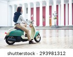 man starts his scooter ready to ... | Shutterstock . vector #293981312
