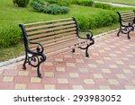 decorative bench in public area....   Shutterstock . vector #293983052