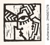 linocut geometric character  04   Shutterstock .eps vector #294007178