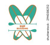 stand up paddle surfing logo... | Shutterstock .eps vector #294038252