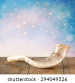 Shofar  Horn  On Wooden Table....
