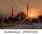 Blue Mosque In Glorius Sunset ...