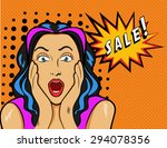 woman with sale sign. vector... | Shutterstock .eps vector #294078356