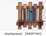 wooden shelf with books on wall ... | Shutterstock . vector #294097442