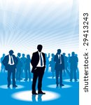 Businesspeople are standing in a virtual space, conceptual business illustration. - stock vector